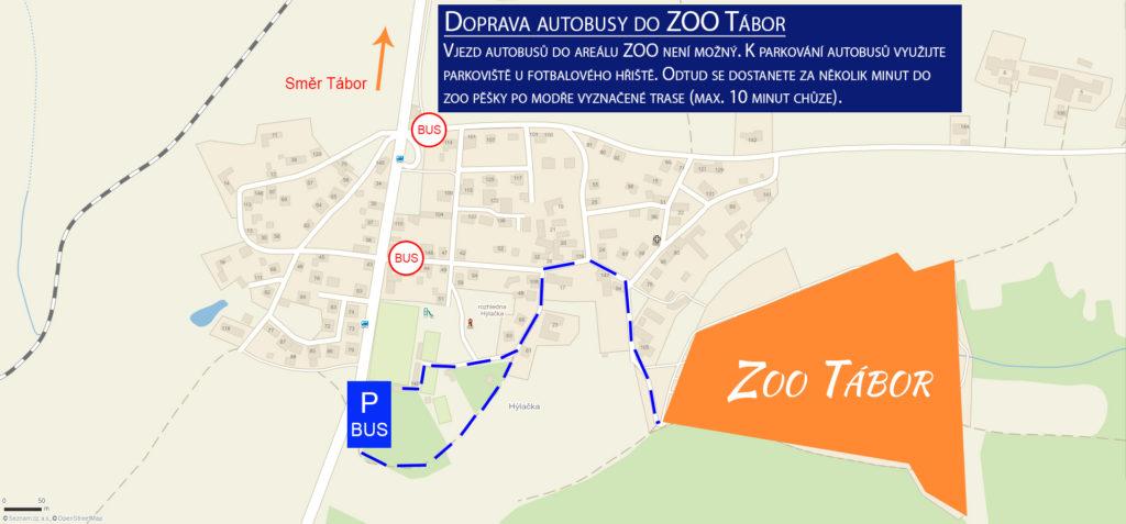 Mapa Zoo Tábor - autobusy